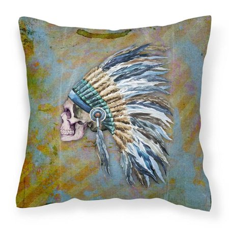 Carolines Treasures BB5128PW1818 Day of the Dead Indian Chief Skull Fabric Decorative Pillow - 18 x 3 x 18 in. - image 1 of 1
