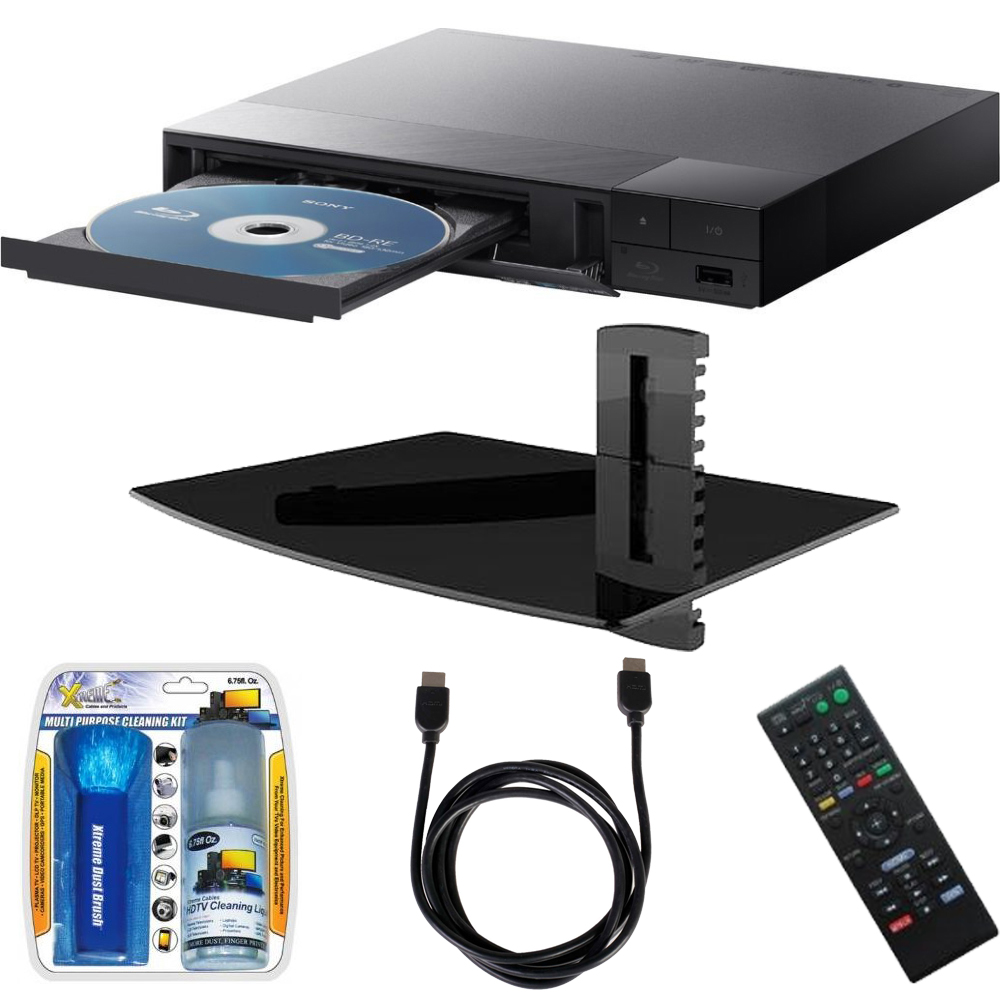 Sony BDP-S3700 Streaming Blu-ray Disc Player with Wi-Fi w/ Stanley Single Glass Media Shelf, LCD Screen Cleaning Kit and HDMI Cable Bundle