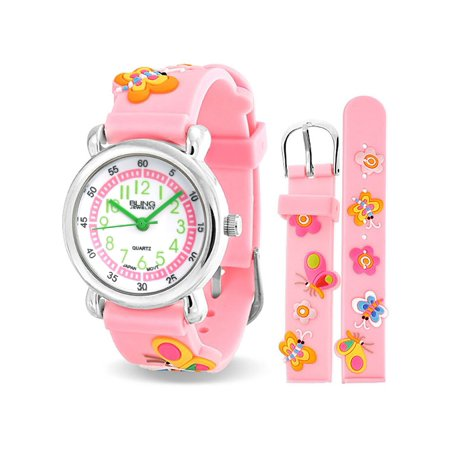 Flowers Butterfly Waterproof Wrist Watch Time Teacher Quartz 3D Cartoon Pink Silicone Wristband Round Colorful Dial
