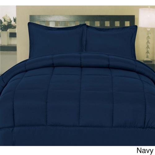 Plush Solid Color Box Stitch Down Alternative Comforter Navy - Queen