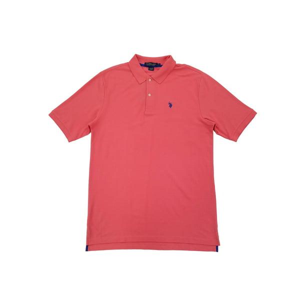 U.S. Polo Assn. Mens Big & Tall Salmon Performance Golf Polo Shirt