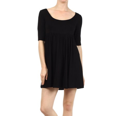 Women's Trendy Style Baby Doll Solid - Womens Black Baby Doll Dress