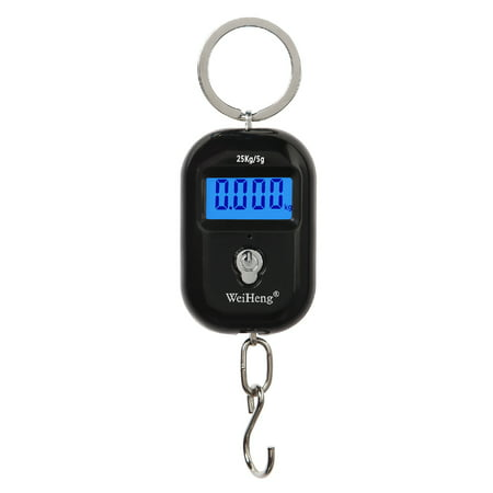 WeiHeng Mini Luggage Scale Portable Electronic Scale Digital Fish Scale with Tracking Function 25kg Double-range Scale Digital Hanging Scale