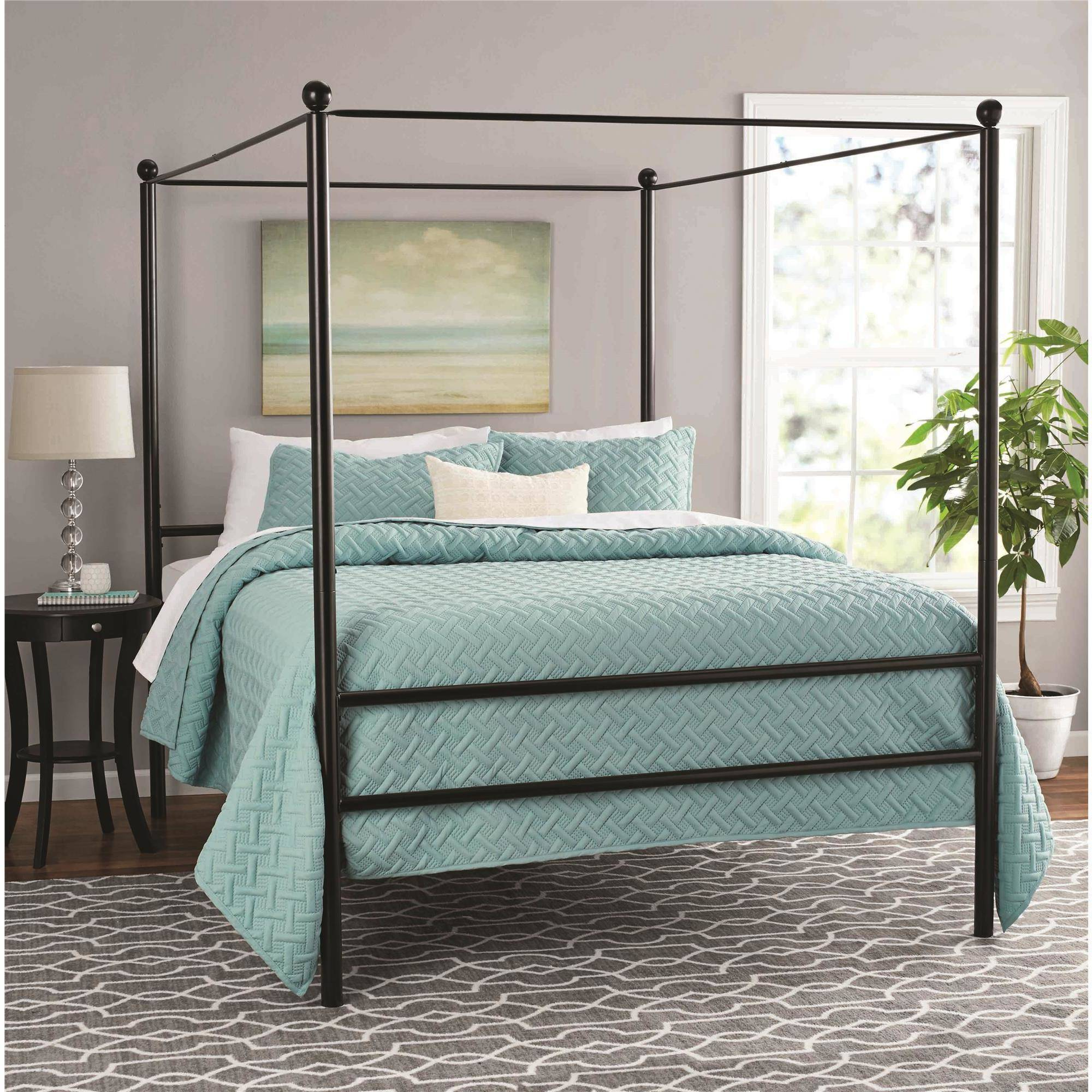 Metal Canopy Bed Frame Mainstays Metal Canopy Bed Multiple Colors Multiple Sizes
