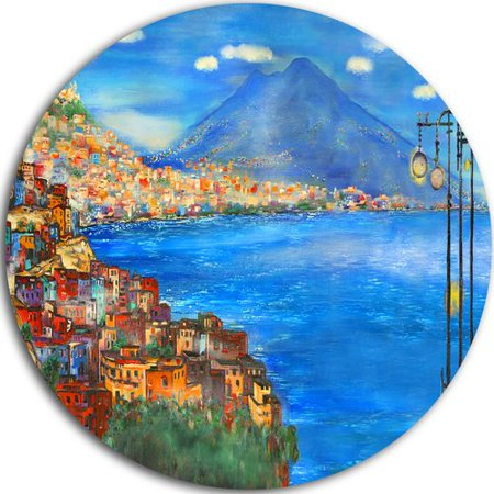 DESIGN ART Designart 'Saturday Night Sea' Landscape Painting Disc Metal Artwork - Saturday Night Fever Suit