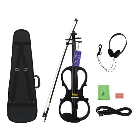 IRIN 2 Colors 4/4 Maple Electric Violin Fiddle Stringed Instrument with Bow Hard Case Tuner Headphones Rosin Audio Cable Early Education For Kids Birthday Christmas Gifts