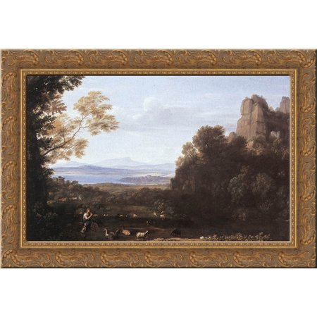 Landscape With Apollo And Mercury 24X18 Gold Ornate Wood Framed Canvas Art By Claude Lorrain