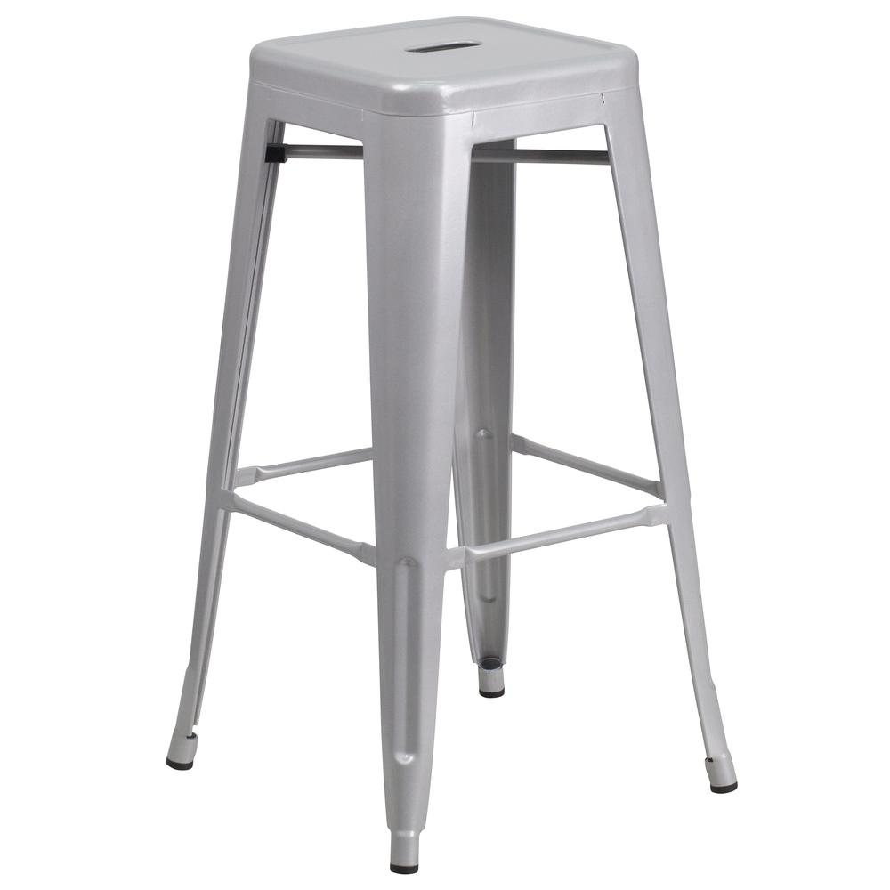 30'' High Backless Silver Metal Indoor-Outdoor Barstool with Square Seat