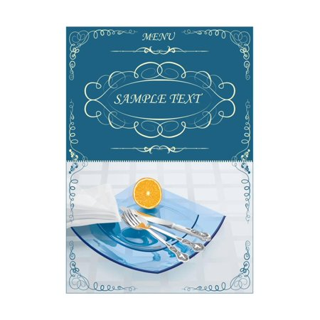 Menu Illustrating Silver Knife, Fork and Spoon on Blue Glass Plates, and Half an Orange - Vector Print Wall Art By (Glass Silver Plated Spoon)