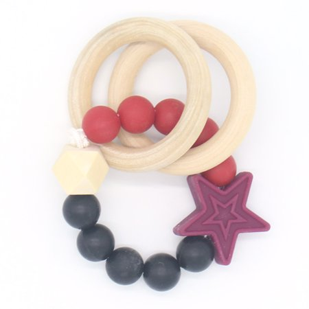 Wood Baby Toy (Organic Wood Teether Rings , Wooden Baby Teething Toys)