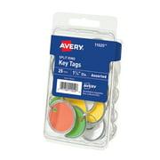 "Avery Metal Rim Key Tags, 1-1/4"" Diameter, Assorted, 25 Tags"