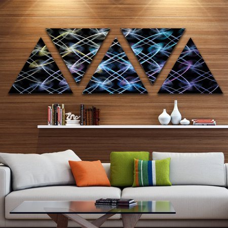 DESIGN ART Designart 'Blue Unusual Fractal Metal Grill' Contemporary Triangle Canvas Wall Art - 5 Panels 60 in. wide x 28 in. high - 5 Inverted ()