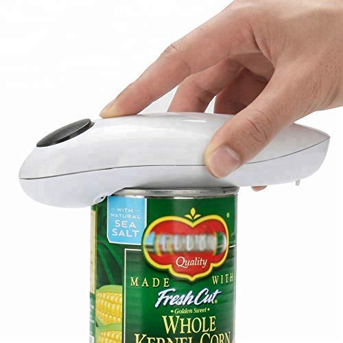White Smooth Soft Edge Electric Can Opener Automatic Electric Can Tin Bottle Opener No Hands Battery Operated