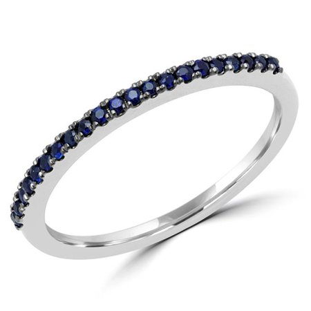 Majesty Diamonds MDR170063-5 0.14 CTW Round Blue Sapphire Semi-Eternity Wedding Band Ring in 14K White Gold - 5 - image 1 of 1