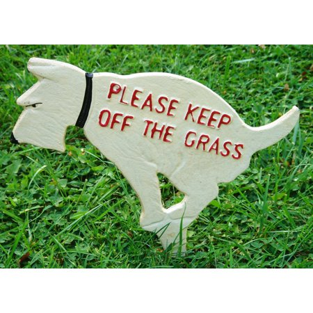 Keep Off the Grass Rustic Cast Iron Dog Yard Sign Stake, Measures 12H x 10-1/2L (5 stake included in height measurement) By GSM Glass Yard Sign