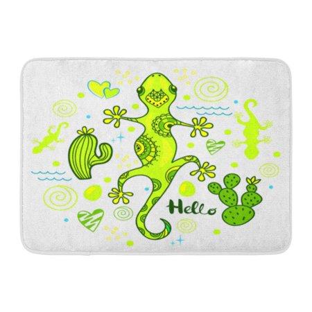 GODPOK Cartoon Green Animal Colorful Lizard with Cactus and Heart Beautiful Cute Rug Doormat Bath Mat 23.6x15.7 inch