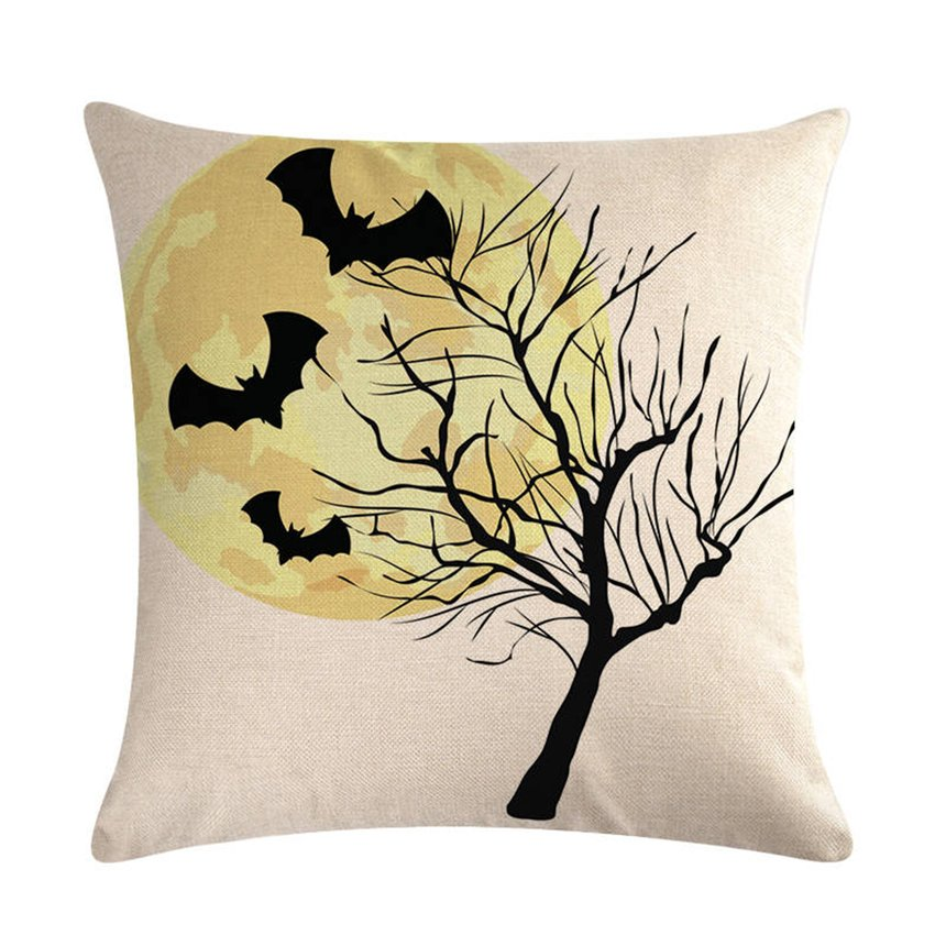 Halloween Series Pillow Covers Cute Cotton Linen Bed Home Pillow Case Smooth Pillowcase for Home Office Car Decoration