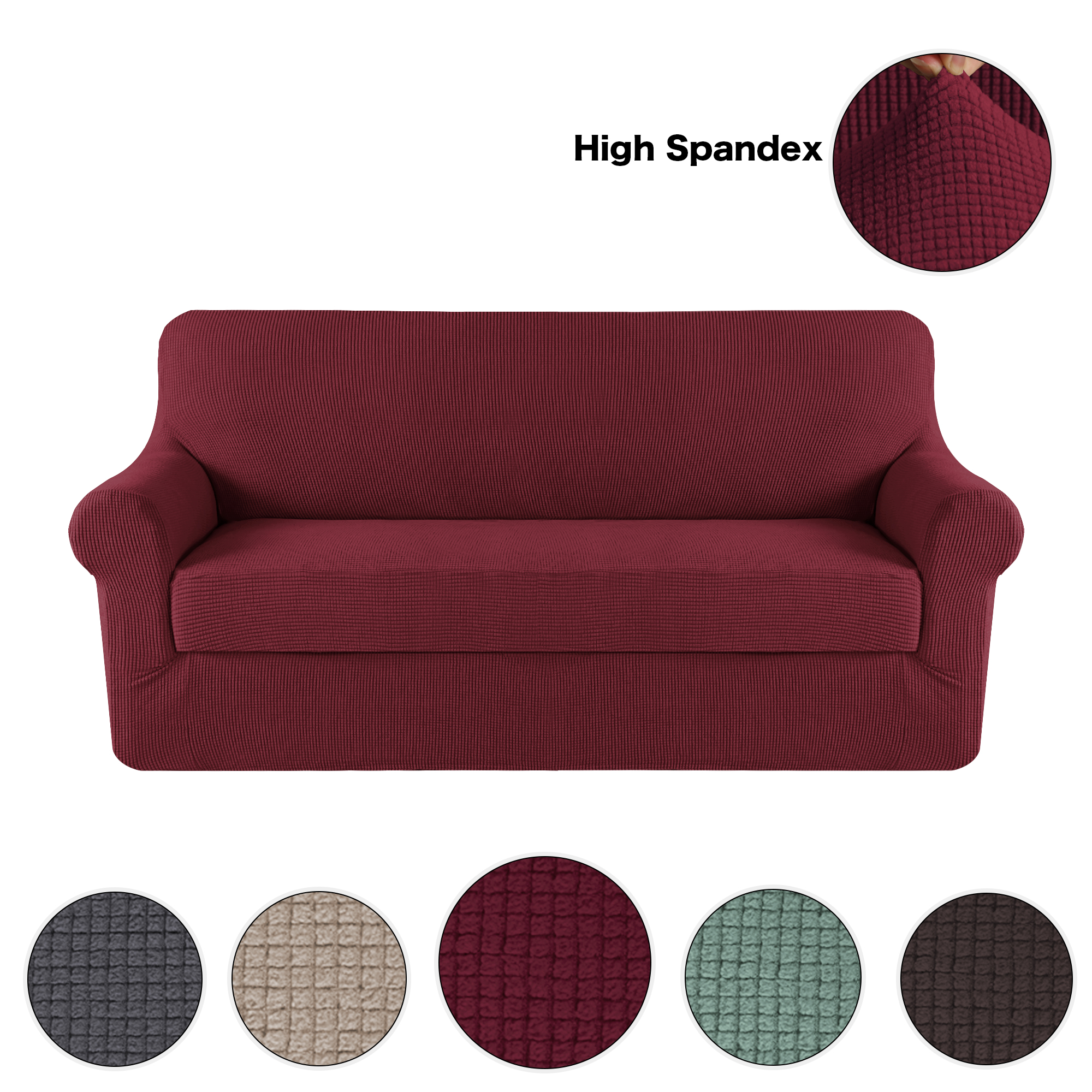 Stretch Sofa Covers For 3 Seat Couch Slipcover Knit Spandex Stretch
