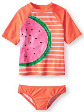 3ed0263b97 Product Image Rash Guard and Bikini Bottom, 2-Piece Swim Set (Little Girls,  Big