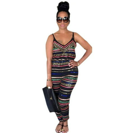 Women Spaghetti Strap Sleeveless Boho Jumpsuit Playsuit Clubwear Rompers Summer Long Trousers Plus Size - Plus Clubwear