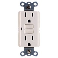 GE 15A Grounded GFCI Outlet, Internal Automatic Self-Testing, Test & Reset Buttons, Light Almond, 32074