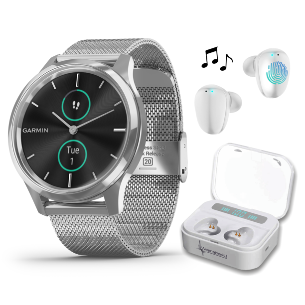 Garmin Vivomove 3 Luxe, Hybrid Smartwatch with Included Wearable4U Ultimate White EarBuds with Charging PowerBank Case Bundle (Silver/Black, Milanese)