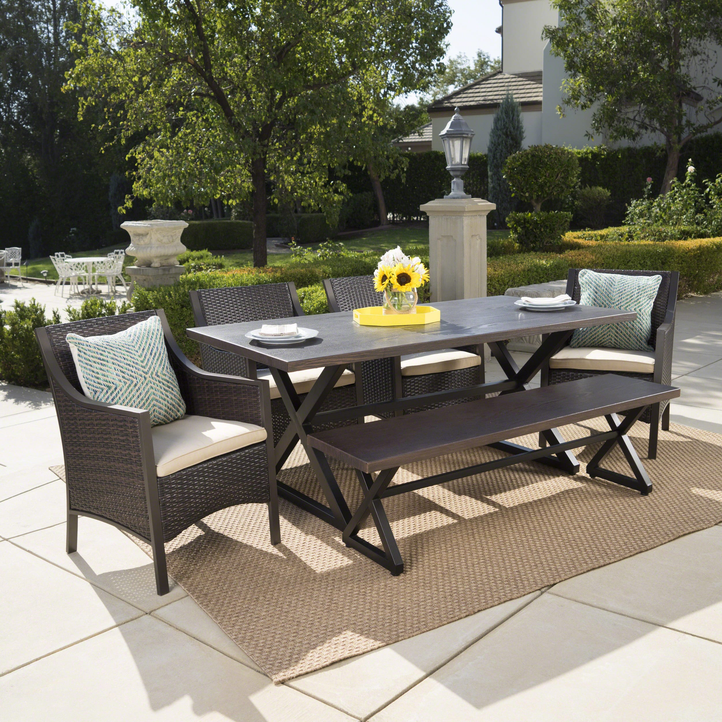 Christopher Knight Home Liona Outdoor 6-piece Rectangle Aluminum Wicker Dining Set with Cushions by