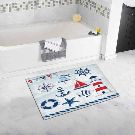 CADecor Nautical Design Elements Anchor, Starfish, Wheel, Boat, Fish, Rope, Bell, Lifebuoy, Lighthouse, Flag, Compass Bath Rug Bathroom Mat Doormat 30x18 inches
