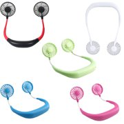 USB Rechargeable Lazy Neck Hanging Style Dual Cooling Fan Travel Outdoor Indoor Wearable Neckband Fan