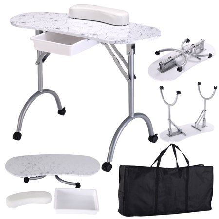 Costway White Manicure Nail Table Portable Station Desk Spa Beauty Salon (Station Equipment)