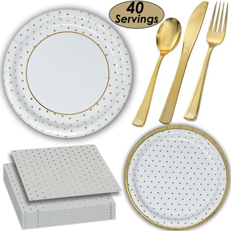 Gold dot Tableware - 40 Servings - Large and Small Paper Plates, Shiny Coated Plastic Cutlery, Luncheon Napkins.