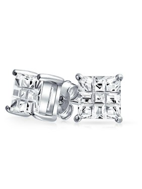 Geometric Cubic Zirconia CZ Square Princess Invisible Cut Stud Earrings For Men Women Sterling Silver 5 6 7 8 9 10 MM