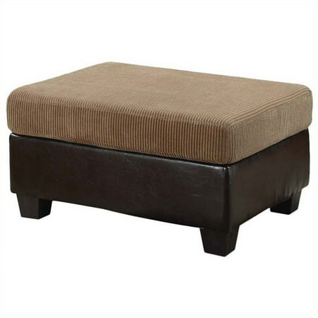 Connell Collection Corduroy and Faux Leather Ottoman, Light Brown/Espresso