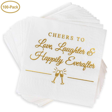 Wedding Napkins, Rehearsal Dinner Fancy Decoration Engagement Party Disposable Personalized Stamped Gold Lettered 4.9 sq. in 100 Pack (Personalized Wedding Napkins)