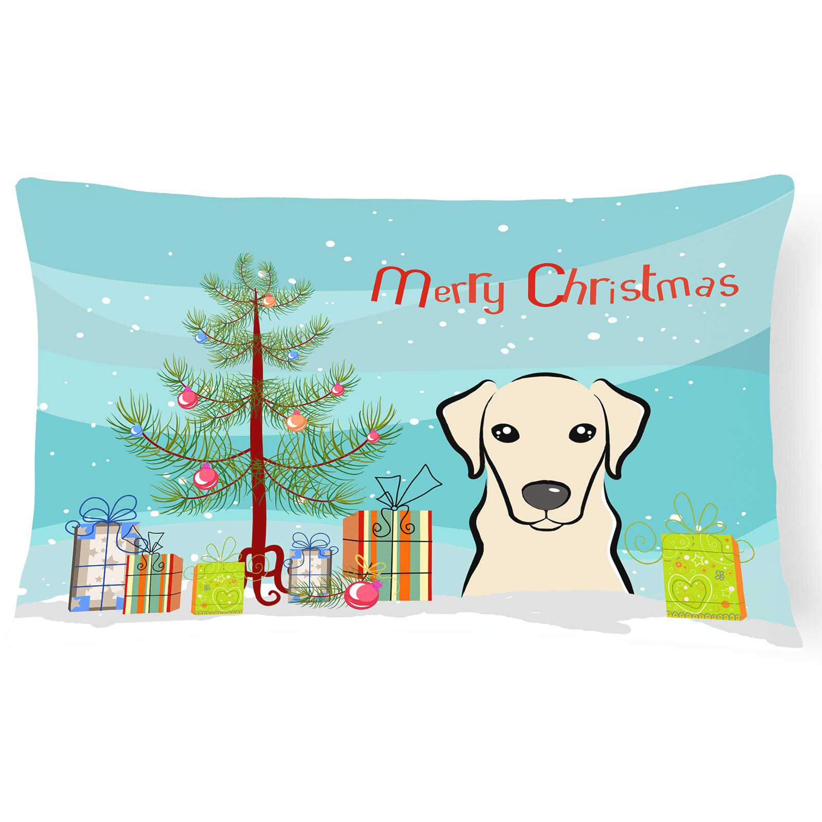Carolines Treasures Christmas Tree and Yellow Labrador Decorative Outdoor Pillow