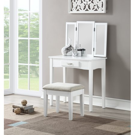 Tri-Fold Mirror Vanity with Upholstered Stool, Multiple Colors