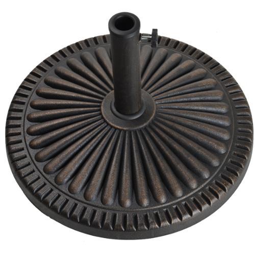 "22"" Ridged Antique Bronze Envirostone Outdoor Patio Umbrella Base"