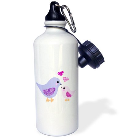 3dRose Cute purple mom bird and pink baby chick daughter girl - kawaii mother and child birds - mothers day, Sports Water Bottle,