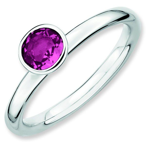 Pink Tourmaline 5mm High Profile Sterling Silver Stackable Ring by