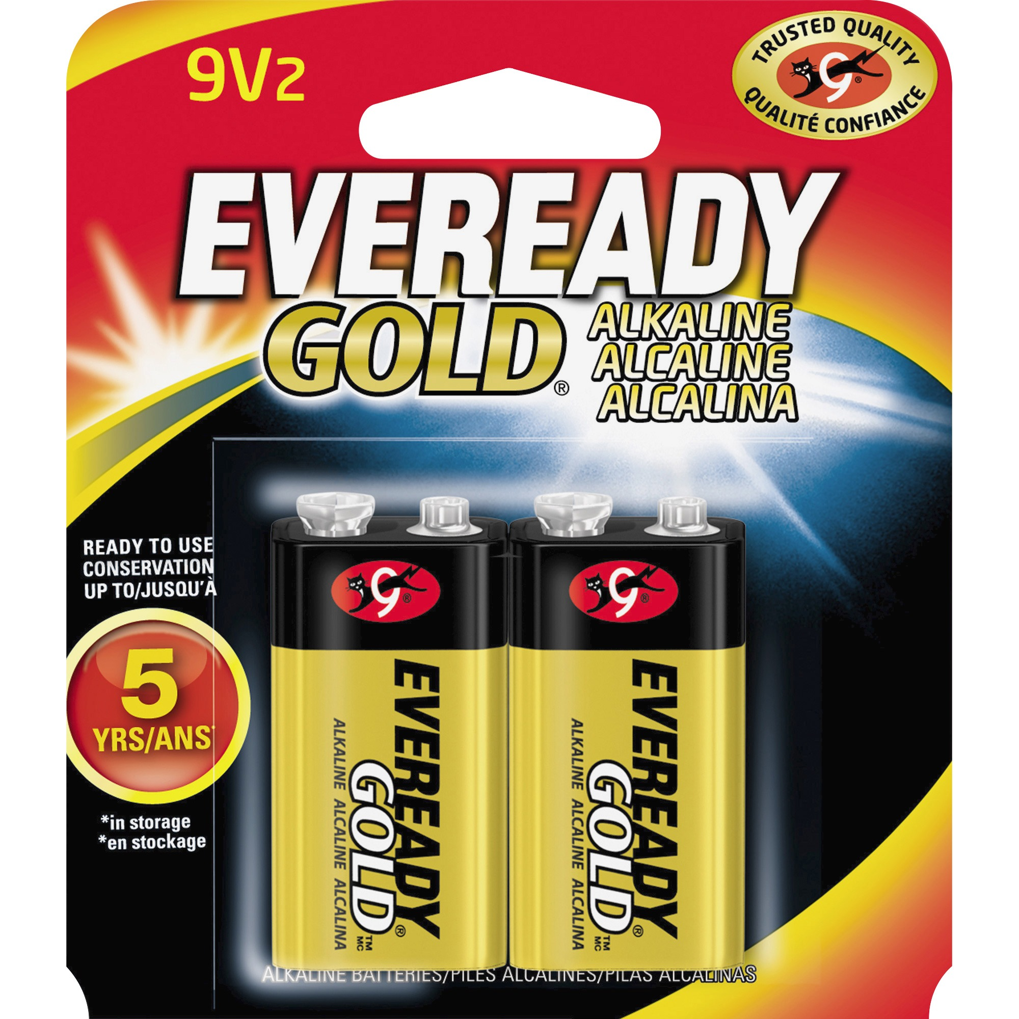 Eveready, EVEA522BP2, Gold Alkaline 9-Volt Batteries, 2 / Pack, Red