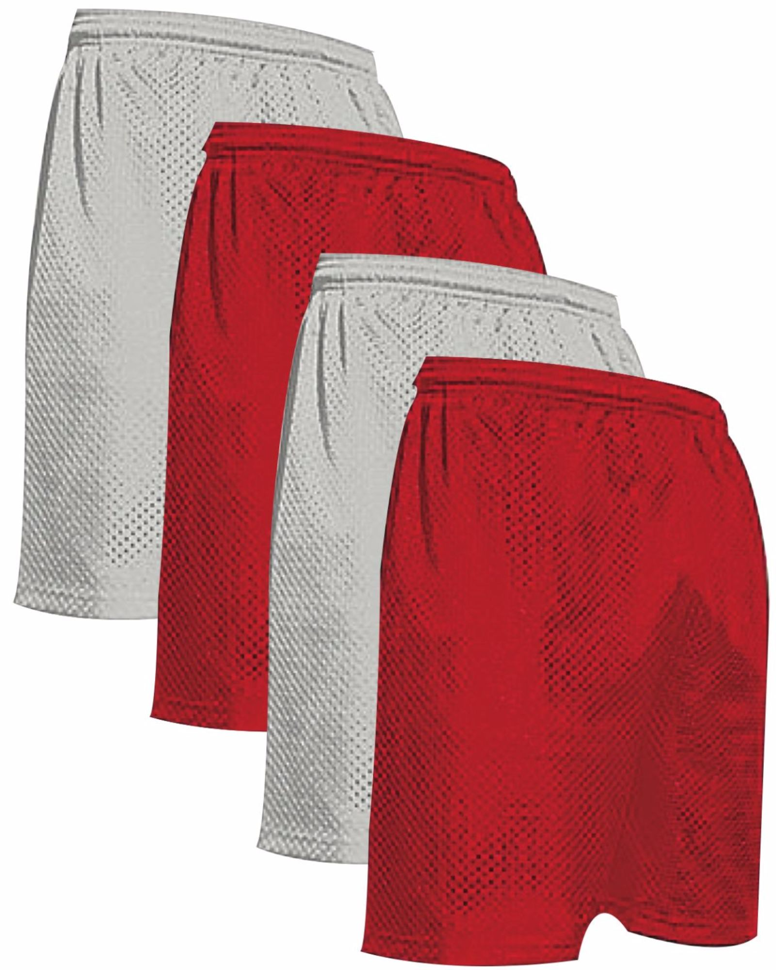 "VALUE PACK  > BUY 2 GET 2 FREE >  4 PACK > THE RAM BRAND > Men's  9"" Performance Pro Mesh Gym Champ Shorts (XS-4XL) $10 S/H is on the 1st Pack only. In this Pack: (XL)(2Silver/2Red)"