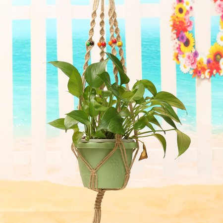 42'' Jute Macrame Plant Hanger Pot Holder Basket With Hanging Ring & Beads Indoor & Outdoor Decorative Flower 107cm Home (Indoor Flower Pots)