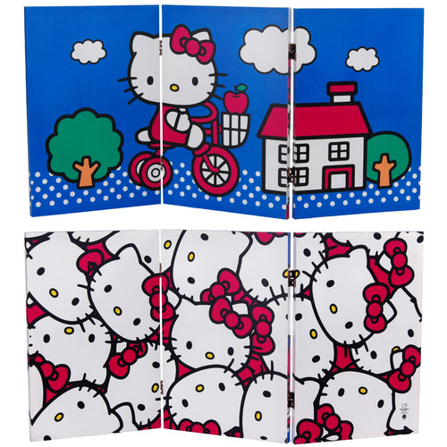 Oriental Furniture 23.75'' x 47.25'' Tall Double Sided Hello Kitty Bicycle 3 Panel Room Divider