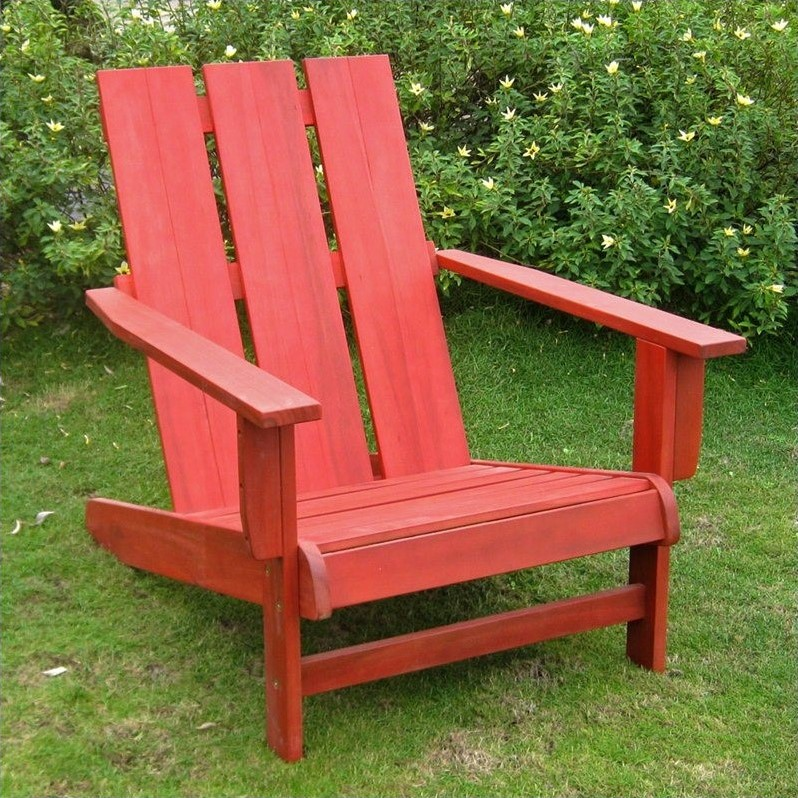 Pemberly Row Large Adirondack Patio Chair in Red