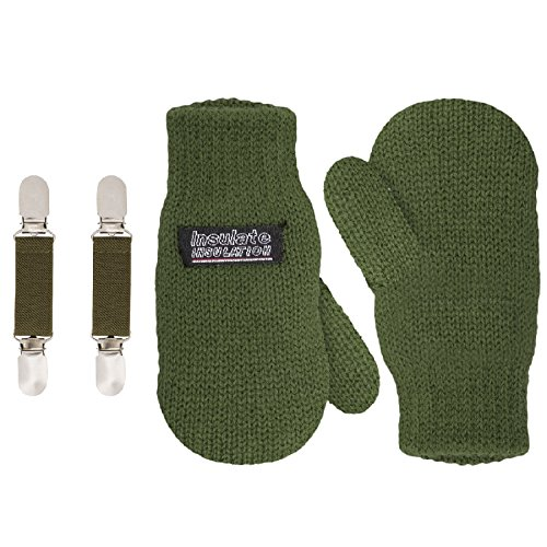 SANREMO Unisex Kids Toddler Knitted Fleece Lined Warm Winter Mittens and Mitten Clips Set (1-3 Years, Olive Green)