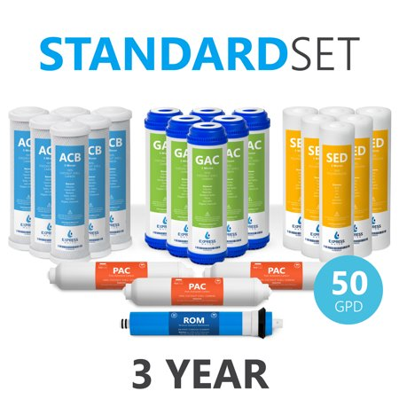 4000 Reverse Osmosis - Express Water – 3 Year Reverse Osmosis System Replacement Filter Set – 22 Filters with 50 GPD RO Membrane, Carbon (GAC, ACB, PAC) Filters, Sediment (SED) Filters – 10 inch Size Water Filters