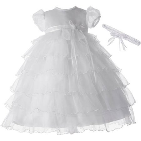 Christening Baptism Newborn Baby Girl Special Occasion Elaborate Multi-Tiered Organza Long Dress With Satin Bodice And Sheer Baby Doll Sleeves