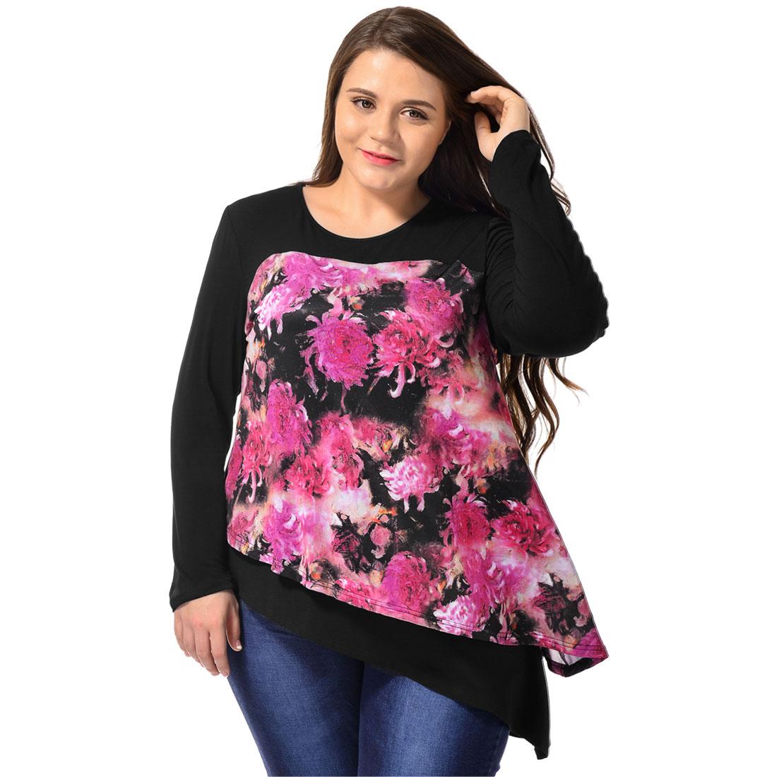 Women Plus Size Floral Prints Asymmetric Hem Layered Tunic Top Black 1X