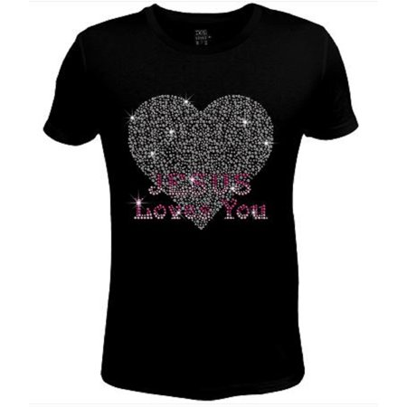 - Bling Rhinestone Womens T Shirt Jesus Loves You JRW-241-SC