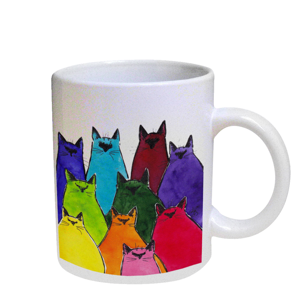 KuzmarK Coffee Cup Mug Pearl Iridescent White - Siamese Kittes in Crayon Colors Abstract Cat Art by Denise Every